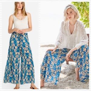 JOHNNY WAS Farrah Teal Floral Wide Leg Print Pants